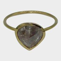 Rose Cut Salt & Pepper Diamond 18K Ring