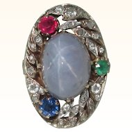 Vintage 18K French Star Sapphire Ring