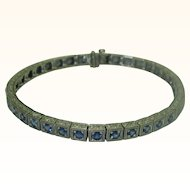 Vintage Sapphire & 18K White Gold Line Bracelet