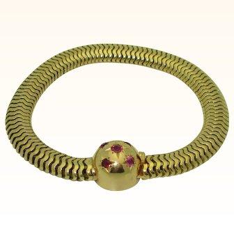 Vintage Retro 18K Ruby Snake Chain Bracelet