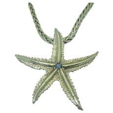 Estate 14K White Gold Star Fish Pendant on 18K Chain