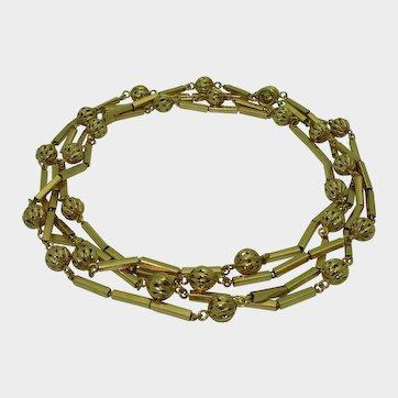 Vintage 18K Retro Long Chain Necklace