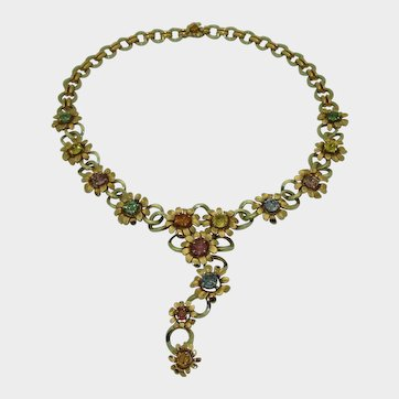 Stunning 18K Multicolored Sapphire Flower Necklace
