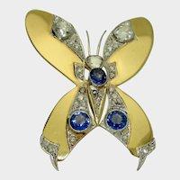 Retro 18k French Sapphire & Diamond Butterfly Brooch