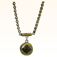 Rare Antique 10K Gold Rush Pendant Necklace