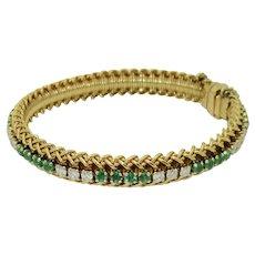 Vintage 18K Emerald Diamond Hammerman Bros. Bracelet
