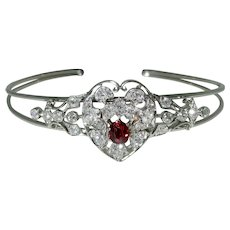 Antique Platinum Topped/14K White Gold Unheated Ruby Bracelet