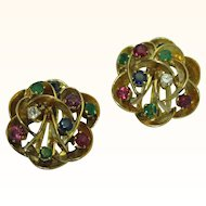 Vintage Glamorous Multi-stone 18K Gold Earrings