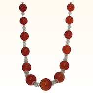 Vintage Carnelian and Rock Crystal Necklace