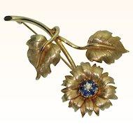 Vintage 14K Sunflower Brooch with Sapphires & Diamond