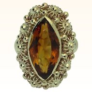 Magnificent 14K Citrine Mid-20th Century Ring