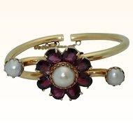 Vintage 14K Rhodolite Garnet & Cultured Pearl Bracelet-Unique