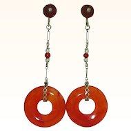 Art Deco 14K Carnelian Earrings