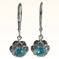 Vintage Retro Natural Blue Zircon Earrings