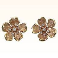 Vintage 14K Flower Earrings with Diamonds