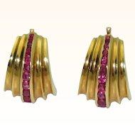 Retro Fluted 18K Ruby Earrings