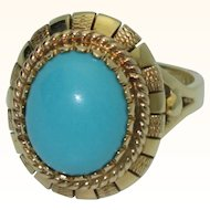 14K Yellow Gold and Turquoise Ring