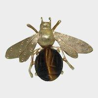 Retro 14K Scarab Tiger's Eye Bee Brooch