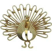 14K Retro Turkey or Peacock Brooch