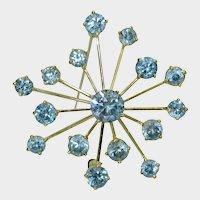 18K Blue Zircon Retro Brooch