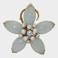 Vintage 14k Jadeite Cultured Pearl Ming's Brooch