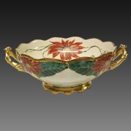 Stunning Pickard Signed H. Tolley Poinsettia Lustre Handled Bowl