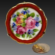"Tiny Miniature 1 5/8"" Limoges Floral Plate and Stand"