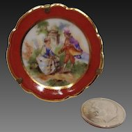 """Tiny Miniature 1 5/8"""" Limoges Scenic Plate and Stand"""