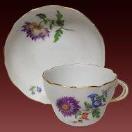 Vintage Meissen Cup & Saucer, Purple Mum