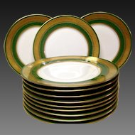 Stunning Theodore Haviland Limoges Green and Gold Encrusted Service Plates