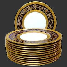 Exceptional Set (12) Cauldon V3334 Cobalt & Gold Encrusted Luncheon Plates