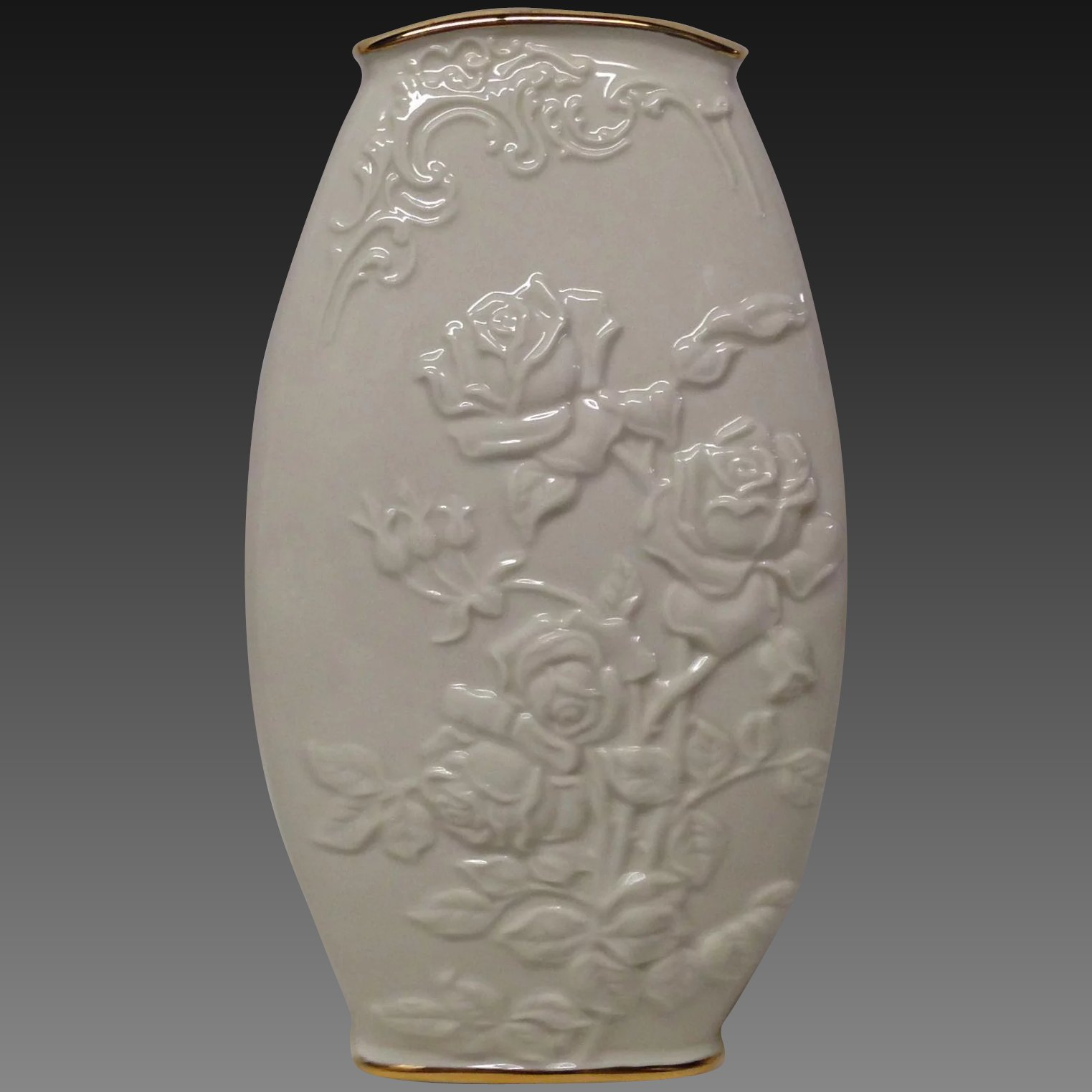 Lovely lenox vase with embossed roses and leaves grandview fine click to expand floridaeventfo Choice Image