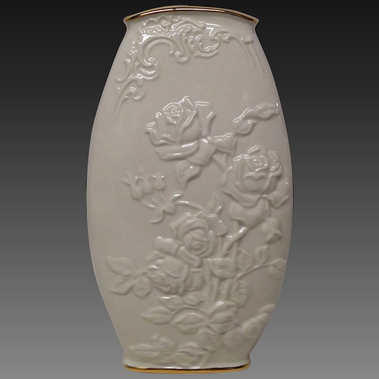 Lovely Lenox Vase With Embossed Roses And Leaves Grandview Fine