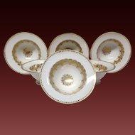 Set (6) Jean Pouyat Footed Gold & White Dessert or Fruit Bowls
