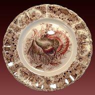 Johnson Bros. Wild Turkeys Brown, Native American Dinner Plate