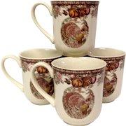 Johnson Bros. Autumn Monarch Pattern Set (4) Mugs, Turkey