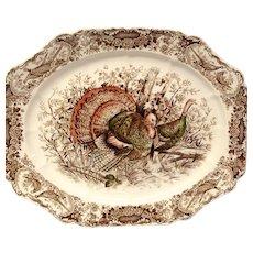 "Johnson Bros. Wild Turkeys Brown, Native American 17"" Platter"