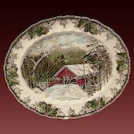 "Johnson Bros. Vintage Friendly Village ""The Covered Bridge"" Oval Platter"