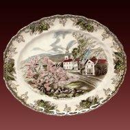 "Johnson Bros. Vintage Friendly Village ""Village Green"" Small Oval Platter"