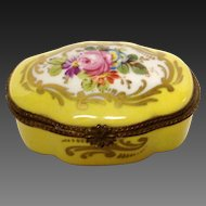 Yellow Limoges Sevres Style Trinket Box