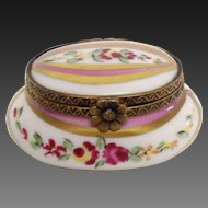 Vintage Tiny Limoges Oval Trinket Box