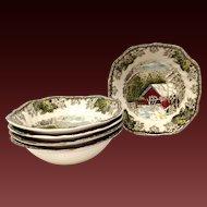 Johnson Bros. Vintage Friendly Village Set (5) Cereal Bowls