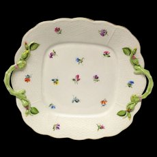 Stunning Herend Kimberly Handled Square Cake Plate