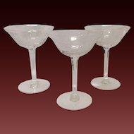 Set (3) Tiffin Mystic Tall Sherbets/Champagnes