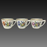 Set (3) Bing & Grondahl Saxon Flowers White Cups