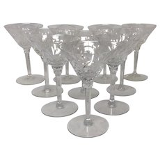 Set (10) Stunning Seneca Elegance Crystal Pattern #967 Liquor Cocktail Glasses