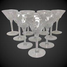 Set (10) Stunning Seneca Elegance Crystal Pattern #967 Liquor Cocktail Glasses