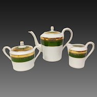 Exceptional Charles Field Haviland Green and Gold Encrusted Coffee Set