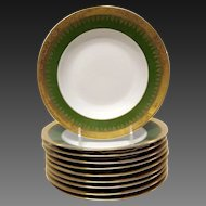 Set (10) Superb Charles Field Haviland Green & Gold Encrusred Rim Soups