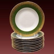 Set (10) Superb Charles Field Haviland Green & Gold Encrusred Rim Soups